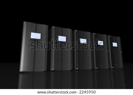 rendered computer-like black objects with glass doors in a dark room - stock photo