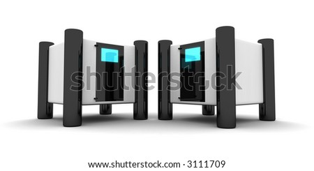 rendered computer-like objects - stock photo