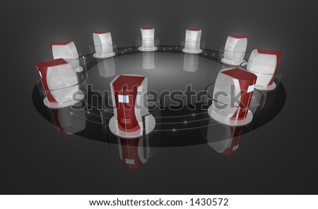 """Rendered computer like objects, connected by kind of a """"data pipeline"""" with glowing spots inside. - stock photo"""
