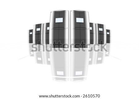 rendered computer-like objects on a reflective floor - stock photo