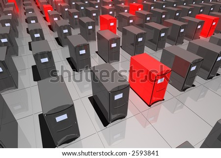 rendered computer-like objects, several colored in glowing red - stock photo