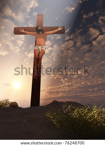 Rendered digital interpretation of Christ crucified with beam of heavenly light - stock photo