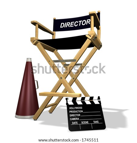 Rendered director's chair over white background - stock photo