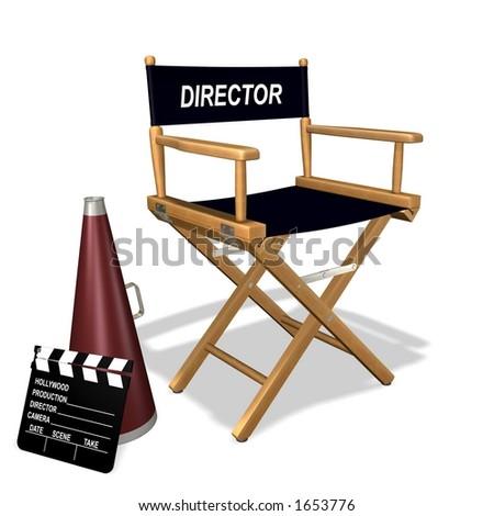 Rendered director's equipment - stock photo