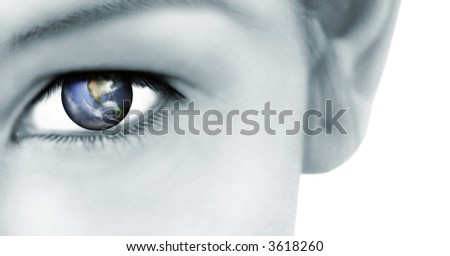 Rendered earth reflected in her eye: World vision conservation, global connection concept, technology etc - stock photo