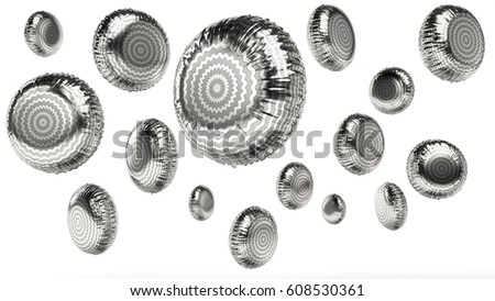 rendered foil silver striped balloons in different angles on white background