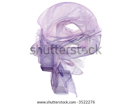 Rendered fractal abstract human head isolated over white - stock photo