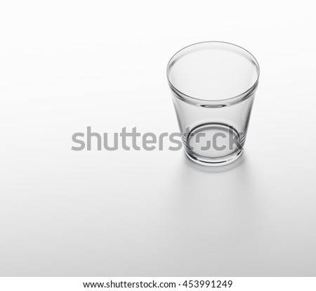 Rendered glass on white background with shadow