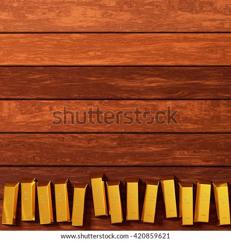 rendered gold bars in row on the planks view from above, 3d rendering - stock photo