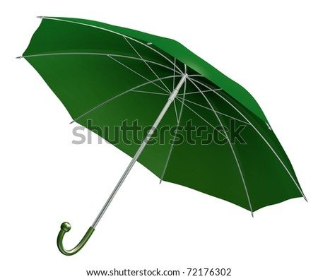 rendered green umbrella isolated on white - stock photo