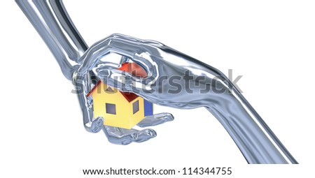 rendered house in the hands as a symbol of save insurance - stock photo