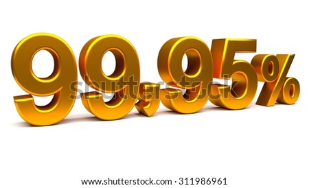Rendered illustration of a 3D text with big golden fonts isolated on white background.
