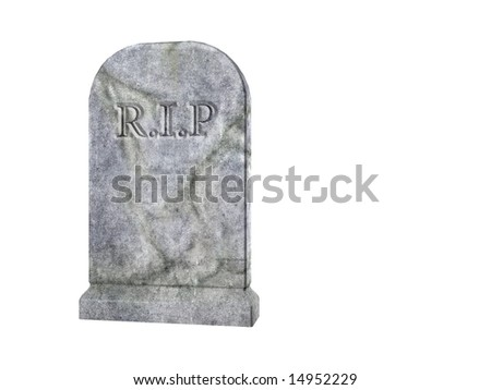 rendered illustration of a graveyard tombstone - stock photo