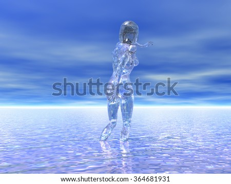 rendered illustration of a transparent female figure standing in water under a surreal sky