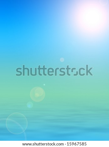 rendered illustration of bright sunshine, clear skies and calm peaceful ocean background - stock photo