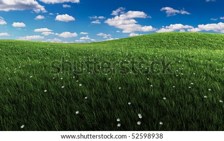 Rendered illustration of rolling green grassland with small flowers and a blue cloudy sky.