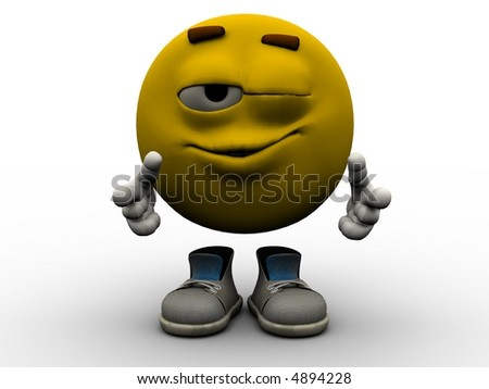 Rendered illustration of yellow winking emoticon guy.