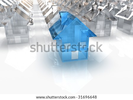 rendered image of a miniature Blue Glass House in front of a lot of white houses - stock photo