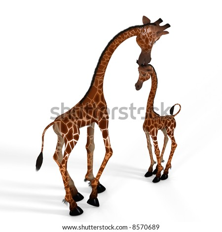Rendered Image of a really cute giraffe - with Clipping Path