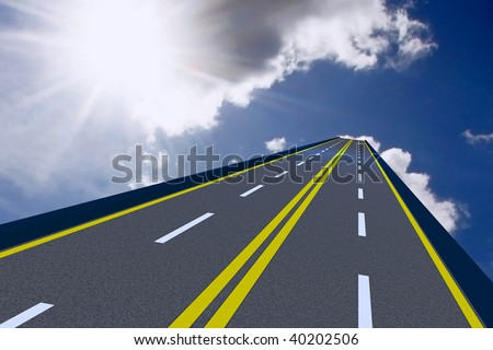 rendered image of a road to the sky