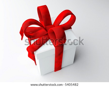 Rendered image of single square present with big red velvet bow - stock photo