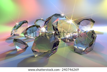 rendered image of some shiny diamonds in multicolored back - stock photo