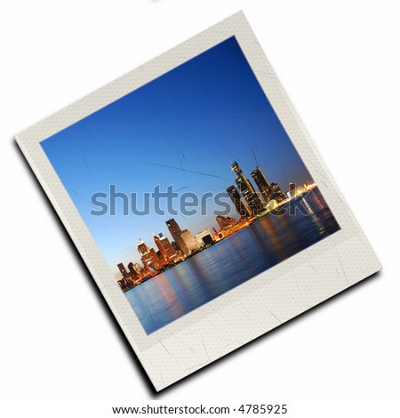 Rendered instant photo slide of night time skyline - stock photo