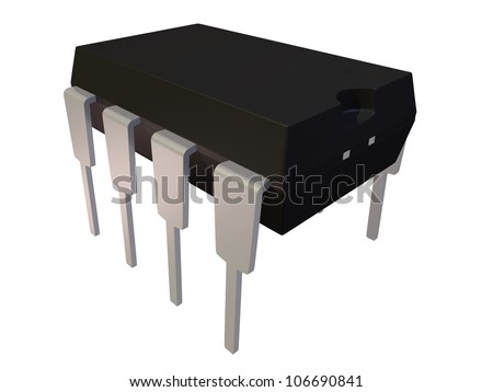 Rendered Isolated Dual In Line Package DIP8 Electronic Component - stock photo