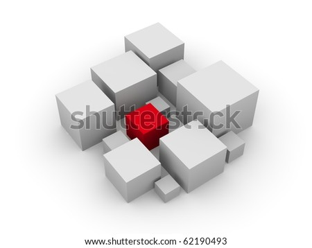 rendered isolated object red box