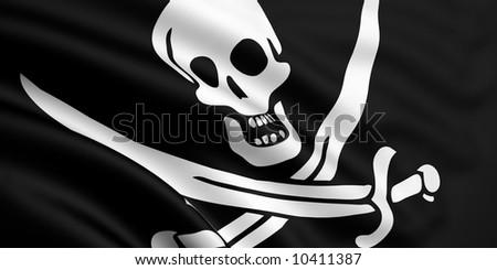 Rendered Jolly Roger Flag - stock photo