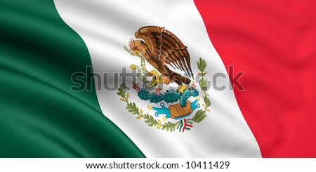 Rendered mexican flag - stock photo