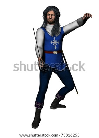 Rendered model in musketeer or cavalier costume with long period hair in fencing stance - stock photo