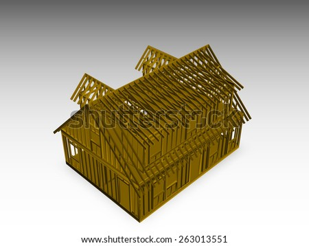 rendered model of a cape style house frame