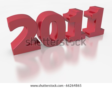 rendered of 2011 for the new year - stock photo