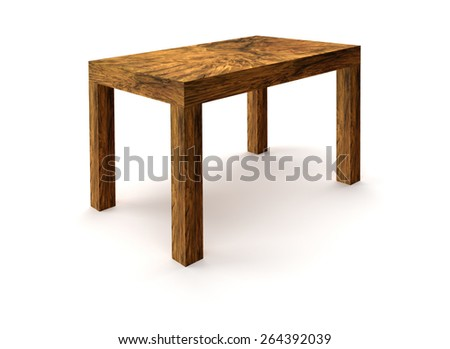 rendered picture showing a wooden table made of burl wood in white back - stock photo