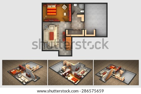 Rendered plan and three isometric views of a furnished house finished basement with living room, bedrooms, storage area and bathroom. - stock photo