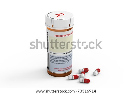 Rendered prescription medicine bottle with several generic capsules on white background. - stock photo