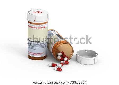 Rendered prescription medicine bottles. One closed and one open with pills spilling out on white background. - stock photo