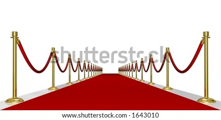 Rendered red carpet entrance with the stanchions and the ropes - stock photo