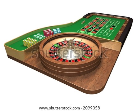 Rendered roulette table over white background - stock photo