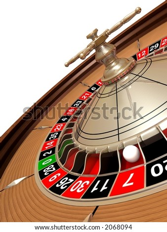 Rendered roulette wheel with the ball on number seven