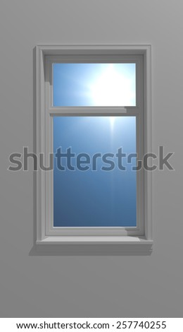 rendered scenery showing a window and sun seen through - stock photo