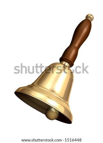 Rendered school bell - stock photo