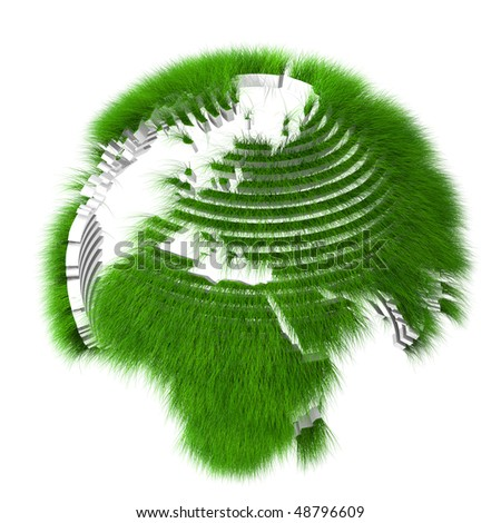 Rendered sliced earth globe covered with grass - stock photo