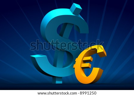 Rendered small Euro and big Dollar on dark-blue with rays on back