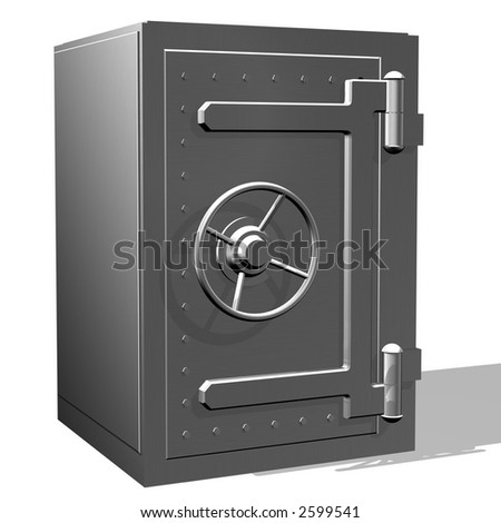 Rendered steel safe over white background - stock photo