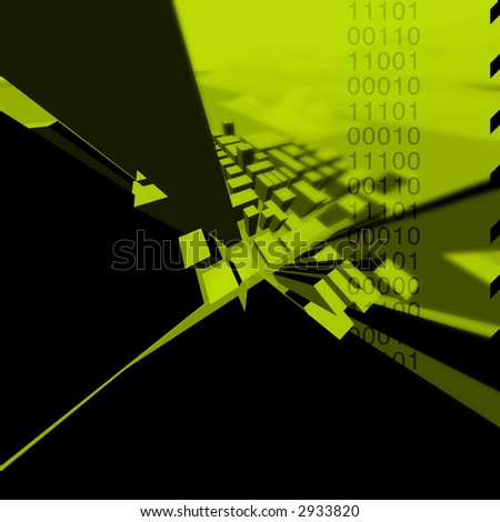 Rendering and illustration of an abstract modern city. - stock photo
