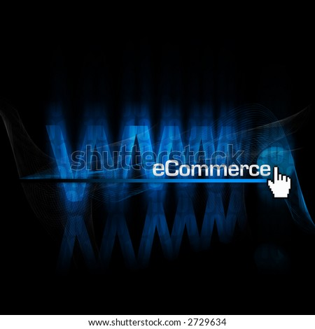 """rendering and illustration of an abstract """"www"""" type with globe and """"eCommerce"""" type in front - stock photo"""