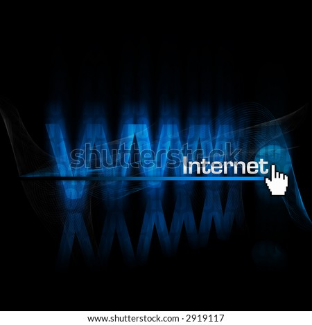 "Rendering and illustration of an abstract ""www"" type with globe and ""Internet"" type in front."