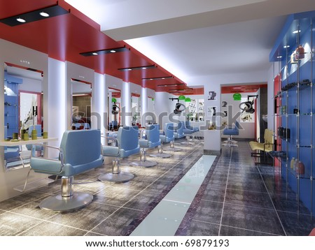 rendering Barber Shop image showing chairs in a row